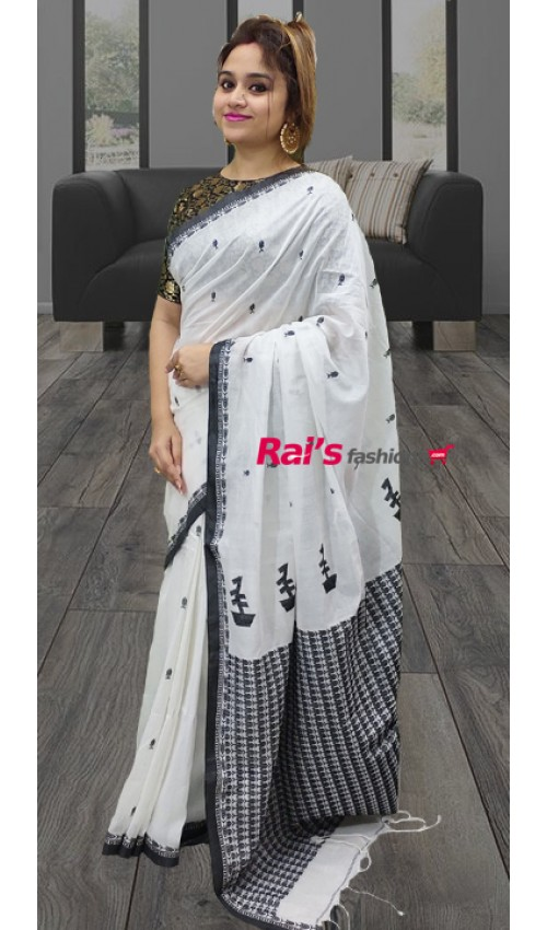 Pure Handloom Charka Cotton With Fine Weaving Work Full Body Hand Weaving Butta Design Saree(27KH17)