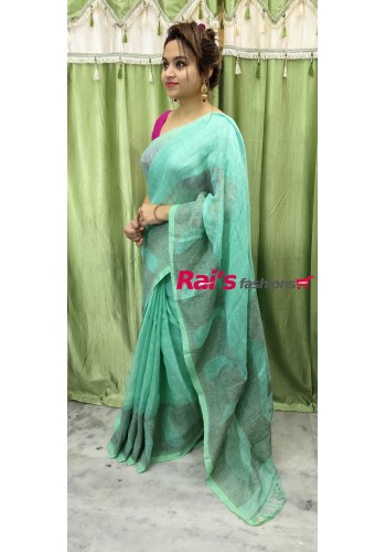 Linen By Linen With Gicha Weaving Border Work Saree(28JAN80)