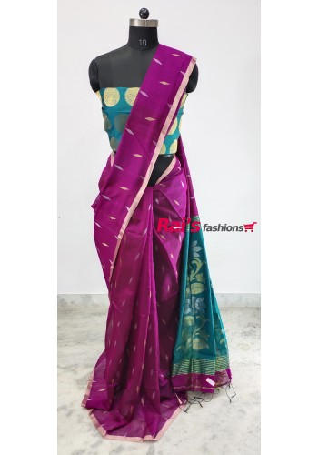 Pure Handloom  Cotton Silk With Weaving Work Saree(29DC12)