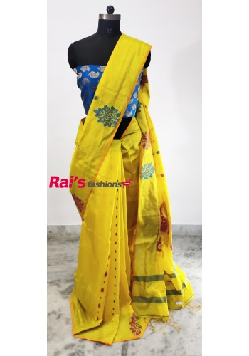 Pure Handloom Cotton Silk With Weaving Design Saree(29DC13)