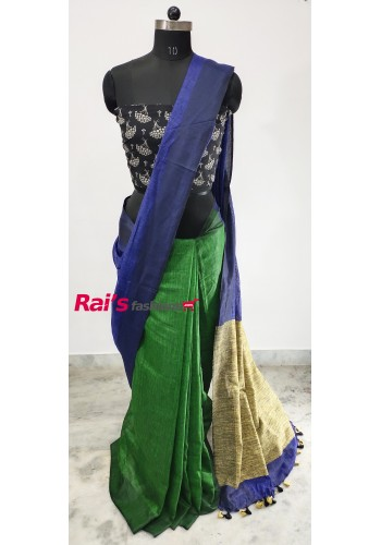 Linen by Linen Half Half With Gicha Pallu Saree(9J3)
