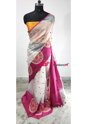 Linen by Linen With Embroidery Design Saree(13J18)