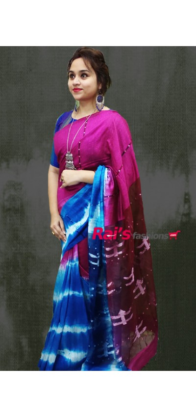 Pure Handloom Hand Spun Matka With Stripes Pattern Shell Sequin Design Shibori Jamdani Butta Work Saree(29JW16)