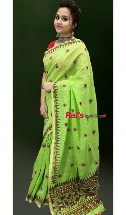 Pure Handloom Khadi Cotton With Embroidery Design With Contrast Border Full Body Butta Work Saree(28JF16)