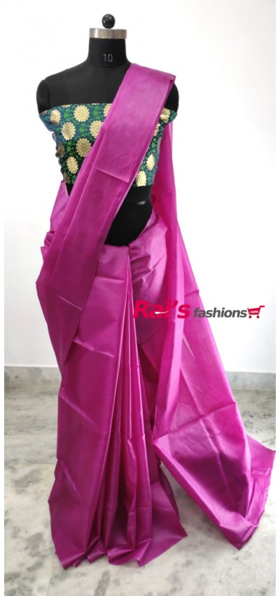 100% Pure Tasur Silk With Contrast Color Pallu Saree(8DH3)