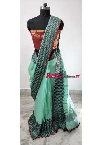 Linen by Linen With Weaving Work Saree(1D2)