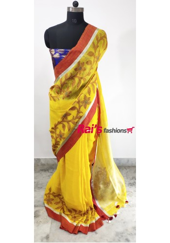 Linen by Linen With Weaving Jamdani Border Saree(16N10)