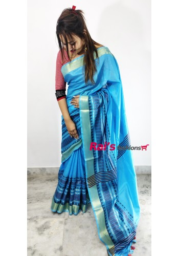 Pure Handloom  Cotton Silk With Weaving Border Work Saree(28J4)