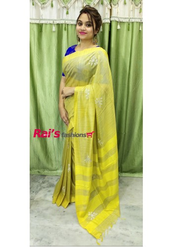 Premium Quliaty Pure Handloom Silk By Cotton With Embroidery Work(29D20)