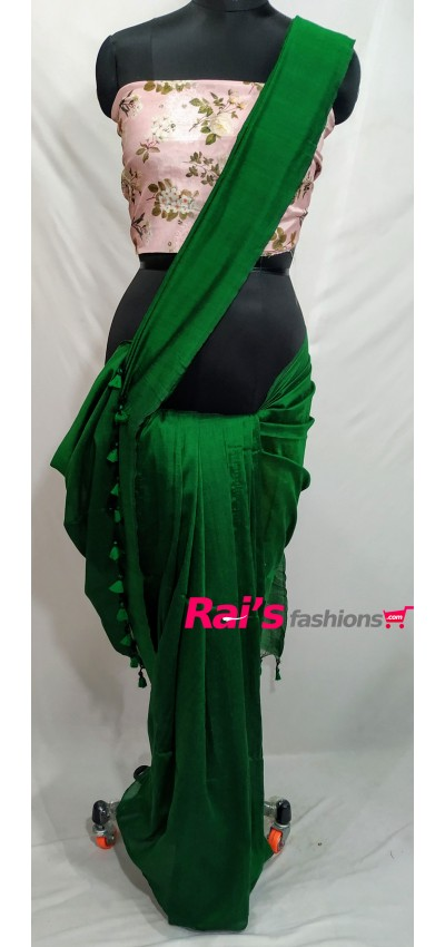 Handloom Soft Fine Khadi Cotton Forest Green Color(RFG54678)