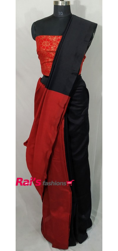Handloom Khadi Cotton Black Red Color(RBR5)