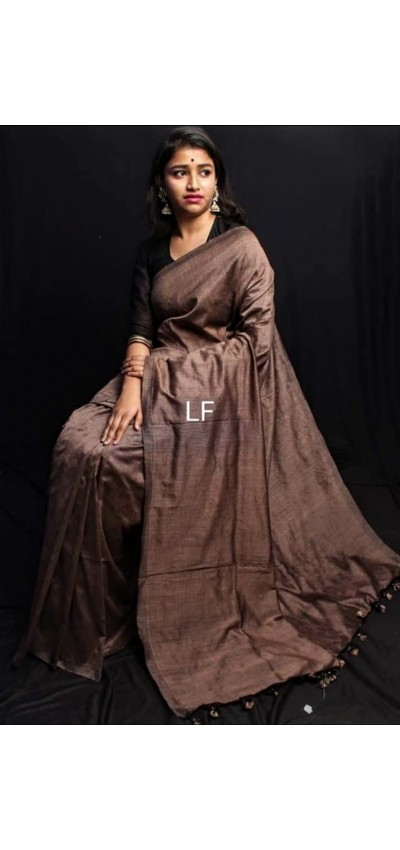 Handloom Khadi Cotton Brown Color(RB44)