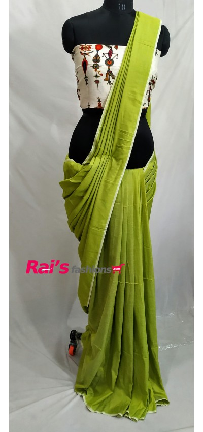 Handloom Soft Fine Khadi Cotton Green Color(RB633)
