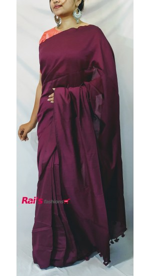 Handloom Khadi Cotton Purple Color(RP3247)