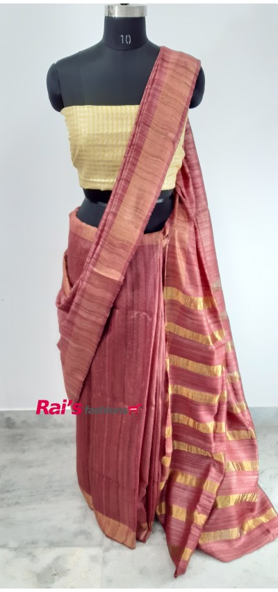 100% Handloom Gicha Silk With Stripes Zari Pallu(8JUL2)