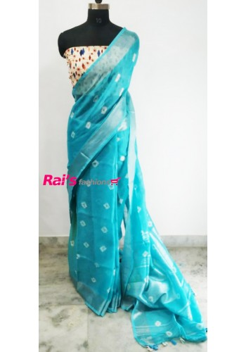 Linen by Linen Bandhni Work Saree(17JUL5)