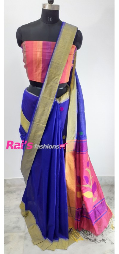 Handloom Cotton Silk With Jamdani Waeving Work(3AGU5)