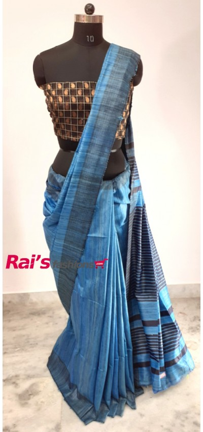 100% Handloom Gicha Silk  Stripes Pallu Saree(29X14)