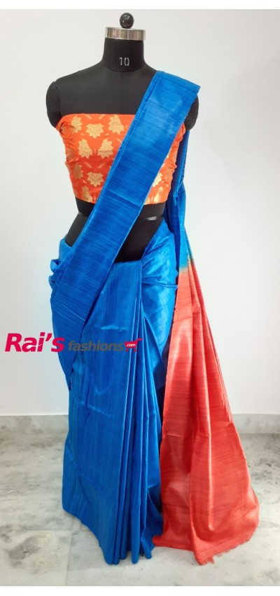 100% Handloom Gicha Silk  Stripes Pallu Saree(17P19)