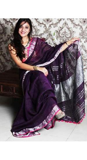 100% Linen by Linen 100 count saree (Bis20)