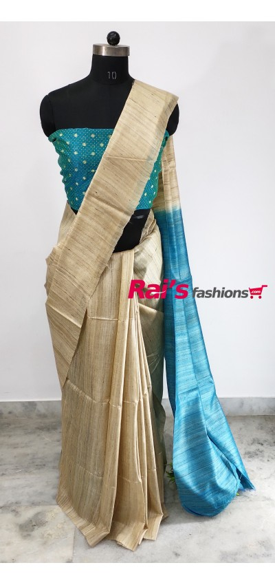 100% Handloom Gicha Silk  Stripes Pallu Saree(7NOV96)