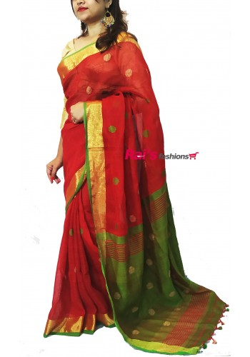 100 Count Linen by Linen Handloom Saree With Ball Design (RBSABISW12S)