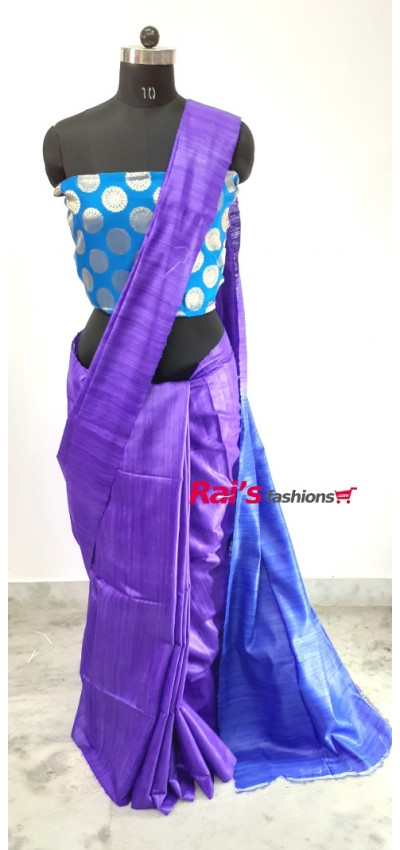 100% Handloom Gicha Silk  Stripes Pallu Saree(10P10)
