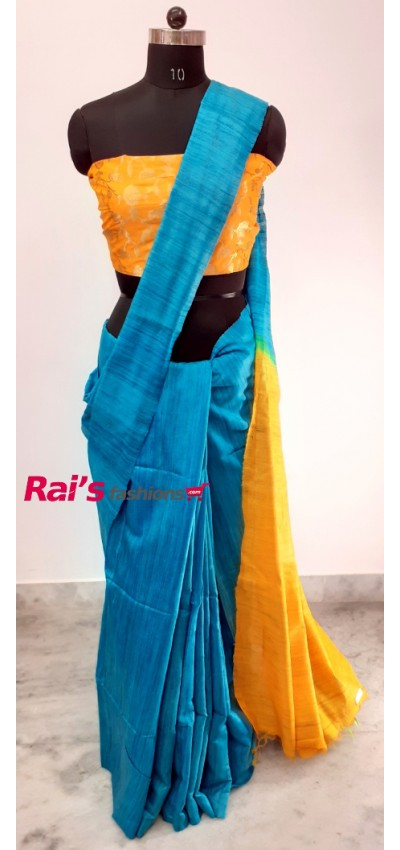 100% Handloom Gicha Silk  Stripes Pallu Saree(10P100)