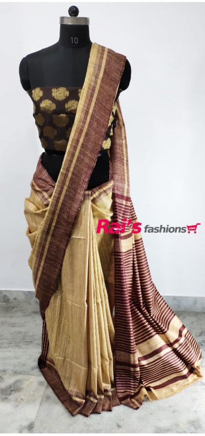 100% Handloom Gicha Silk  Stripes Pallu Saree(1C110)