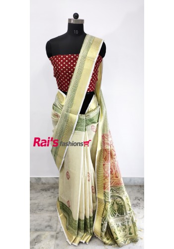 Pure Handloom Tissue Linen With Print(23C23)
