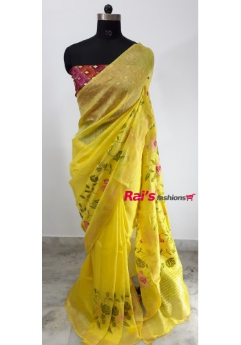 Silk Linen With Embroidery Work Saree(15OEC14)