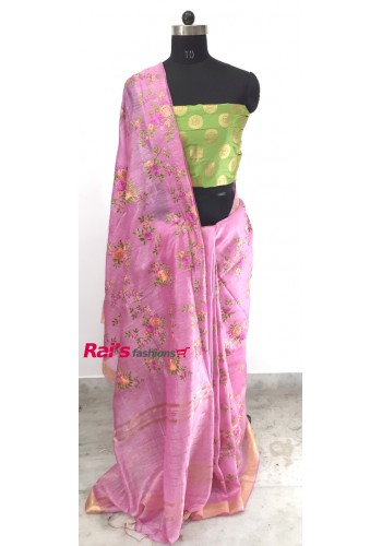 Silk Linen With Embroidery Work Saree(15OEC13)