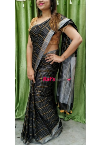 Linen by Linen Golden & Silver Zari Checks Saree(15OEC20)