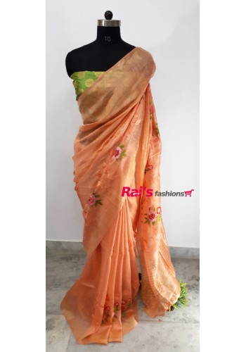 Silk Linen With Embroidery Work Saree(15OEC19)