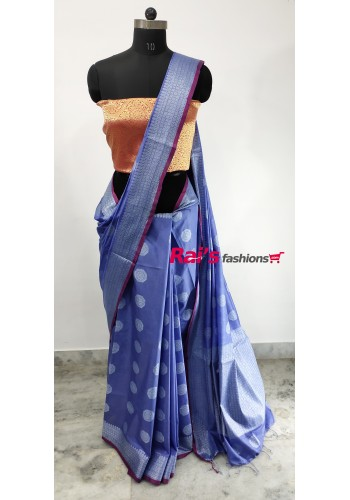 Pure Handloom Soft Silk With Weaving Work(1H3)