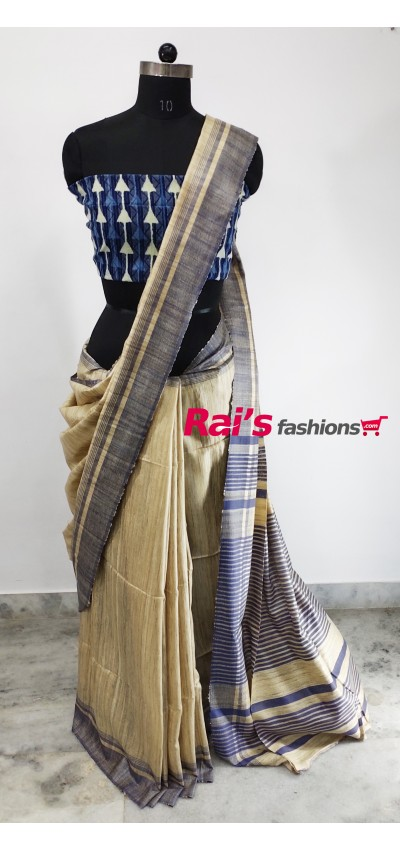 100% Handloom Gicha Silk  Stripes Pallu Saree(26C8)