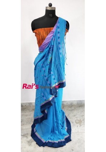 Pure Handloom Cotton With Weaving Work Saree(1C12)