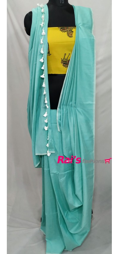 Handloom Soft Fine Khadi Cotton Sea Green Color(RO849)