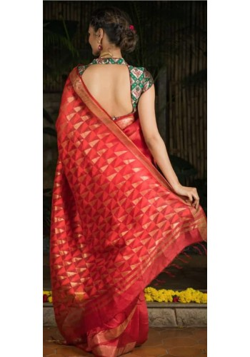 Silk By Linen With Full Weaving Pallu(TUYU357)