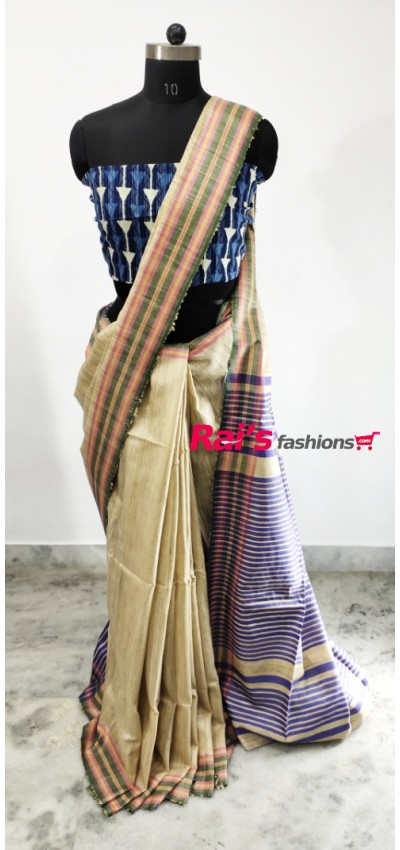 100% Handloom Gicha Silk  Stripes Pallu Saree(25C3)