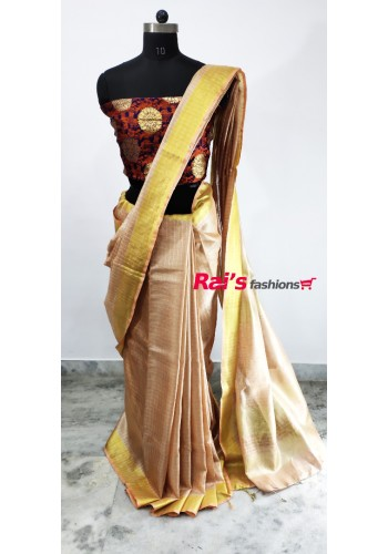 Handloom Tissue Linen With Golden Zari Checks Saree(25C11)