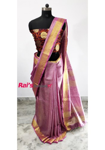 Handloom Tissue Linen With Golden Zari Checks Saree(25C1)