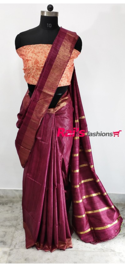 100% Handloom Gicha Silk With Stripes Zari Pallu(24C20)