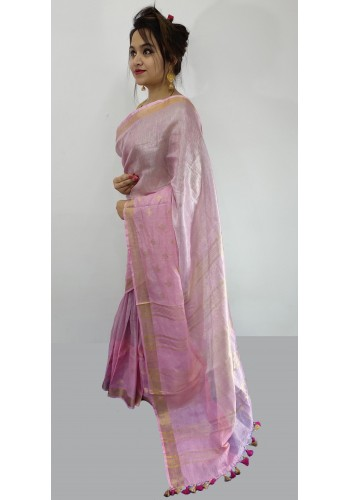 Pure Handloom Tissue With Linen Weaving Border Saree(13F8)