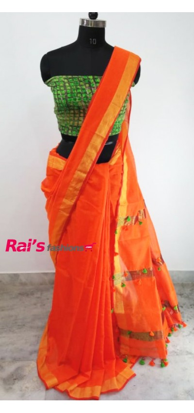 Handloom Cotton Silk With Pompom Pallu Design(1AH1)